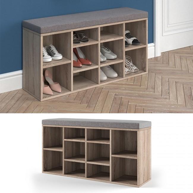 schuhregal sonoma eiche mit brauner auflage. Black Bedroom Furniture Sets. Home Design Ideas