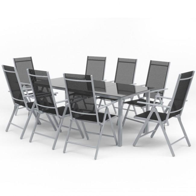 Alu Gartenmöbel 8+1 Sitzgruppe 190er Tisch Gartengarnitur