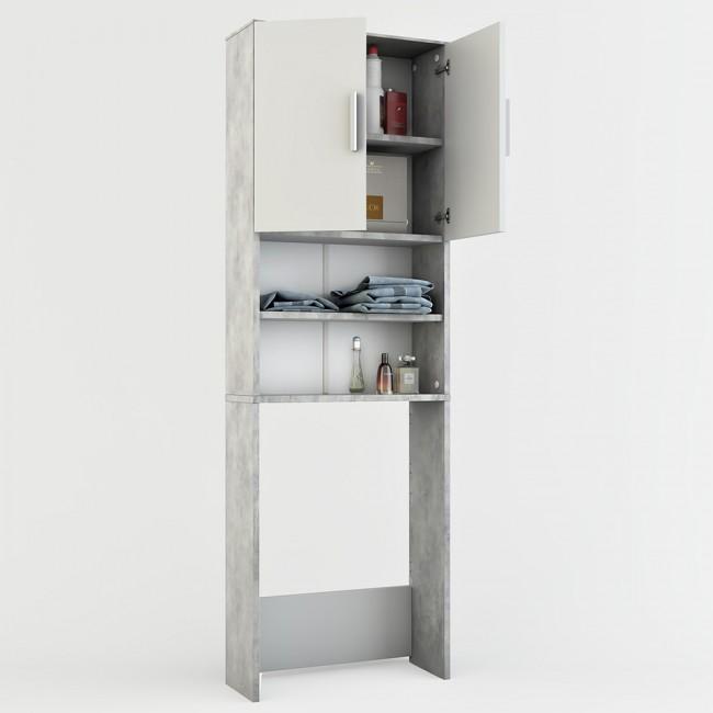 waschmaschinenschrank badregal 190x60cm grau beton. Black Bedroom Furniture Sets. Home Design Ideas