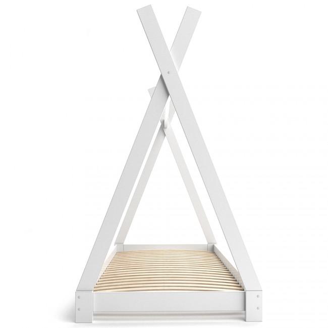 vicco hausbett kinderhaus kinderbett tipi 90x200cm holz wei. Black Bedroom Furniture Sets. Home Design Ideas