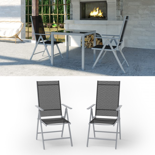 2er set alu gartenstuhl klappstuhl hochlehner campingstuhl aluminium liegestuhl. Black Bedroom Furniture Sets. Home Design Ideas