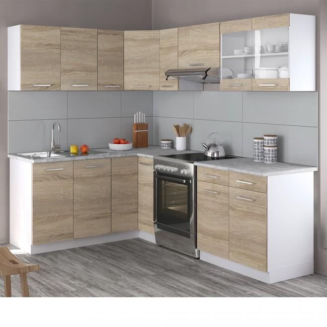 Eck-Küche 8cm Sonoma Eiche R-Line
