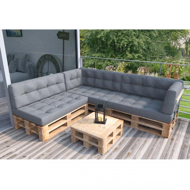 Palettenkissen Set Sitz+Seitenkissen grau