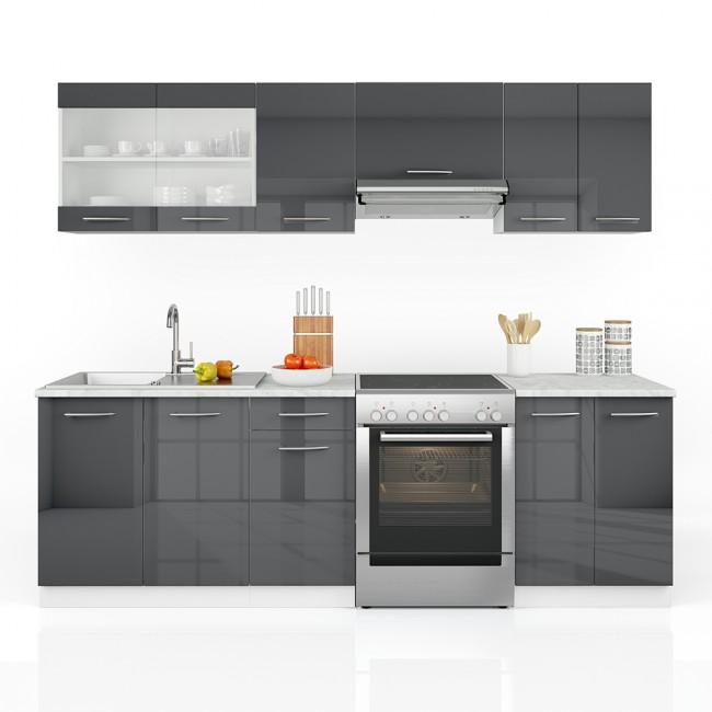 Küchenzeile Oskar ~ vicco küchenzeile 240cm anthrazit hochglanz r line
