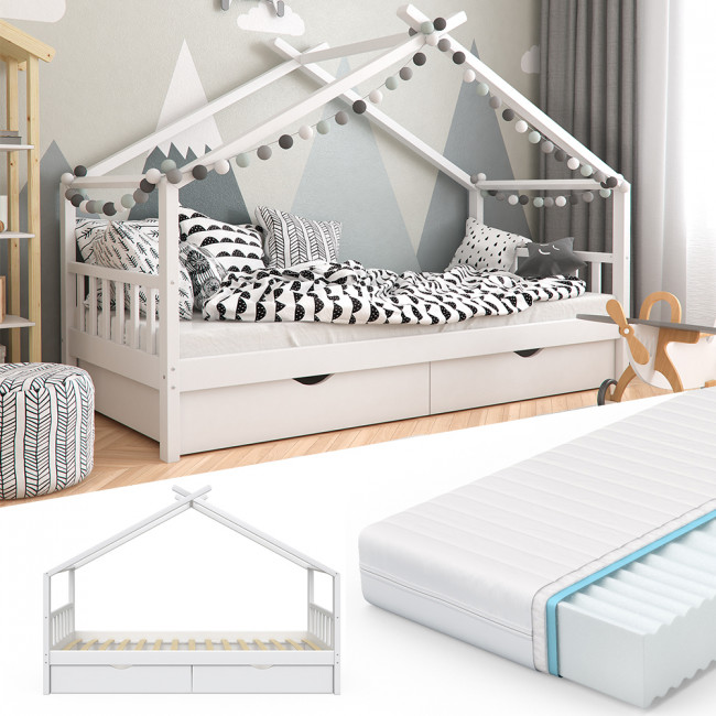 vitalispa kinderbett mit schubladen lattenrost matratze. Black Bedroom Furniture Sets. Home Design Ideas