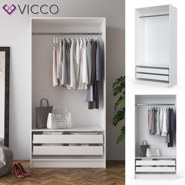 Vicco Kleiderschrank Comfort Offen Einlegeboden Weiss 100x200x50 Cm