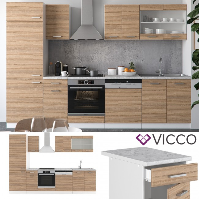 Küche 300 Cm : vicco k che r line 300 cm sonoma eiche ~ A.2002-acura-tl-radio.info Haus und Dekorationen