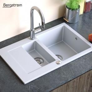 Bergstroem Spüle Verbundspüle Granit Spüle Küchenspüle Doppelbecken 790 x 490  mm + Siphon Weiß