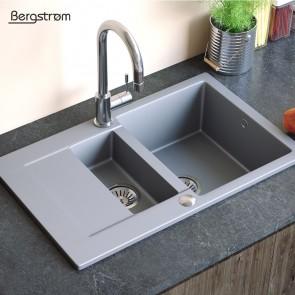 Bergstroem Spüle Verbundspüle Granit Spüle Küchenspüle Doppelbecken 790 x 490  mm + Siphon Grau