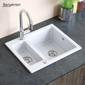 Bergstroem Spüle Verbundspüle Granit Spüle Küchenspüle Doppelbecken 600 x 500  mm + Siphon Weiß