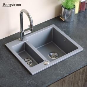 Bergstroem Spüle Verbundspüle Granit Spüle Küchenspüle Doppelbecken 600 x 500  mm + Siphon Grau