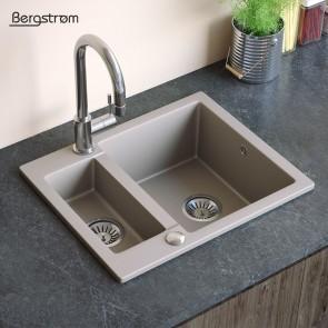 Bergstroem Spüle Verbundspüle Granit Spüle Küchenspüle Doppelbecken 600 x 500  mm + Siphon Beige