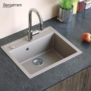 Bergstroem Spüle Verbundspüle Granit Spüle Küchenspüle Spülbecken 590 x 500 mm + Siphon Beige