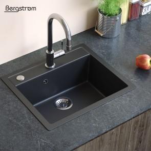 Bergstroem Spüle Verbundspüle Granit Spüle Küchenspüle Spülbecken 590 x 500 mm + Siphon Schwarz