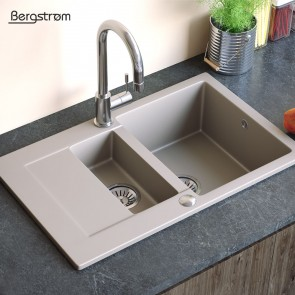 Bergstroem Spüle Verbundspüle Granit Spüle Küchenspüle Doppelbecken 790 x 490  mm + Siphon Beige
