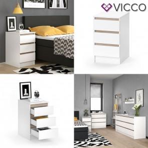 VICCO Nachttisch Emma mit 3 Schubladen in Weiß Sonoma