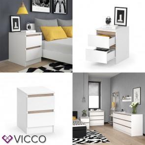 VICCO Nachttisch Emma - mit 2 Schubladen in Weiß Sonoma