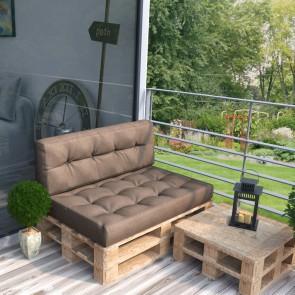 Palettenkissen Set Sitz+ Rückenkissen+ Paletten taupe