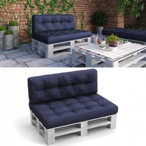 Palettenkissen Set Sitz- und Rückenkissen Blau