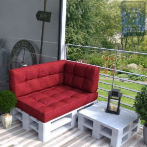 Palettenkissen Set Sitz+Rücken+Seitenkissen Rot