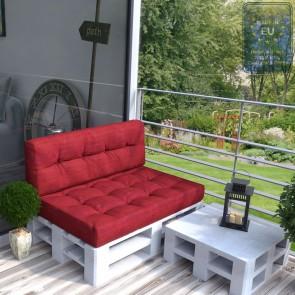 Palettenkissen Set Sitz+Rückenkissen Rot
