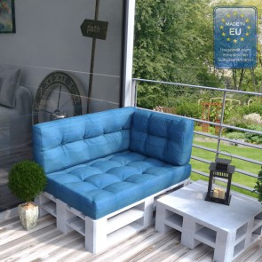 Palettenkissen Set Sitz+Rücken+Seitenkissen Blau