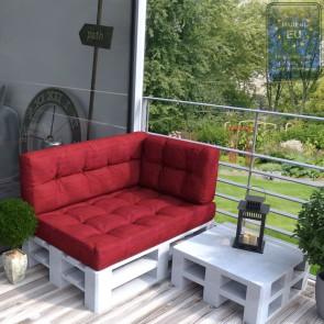 Palettenkissen Set Sitz+ Rücken+Seitenkissen+ Paletten Rot