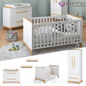 VICCO Babymöbel Set MALIA in weiß und Naturholz 5 Teile