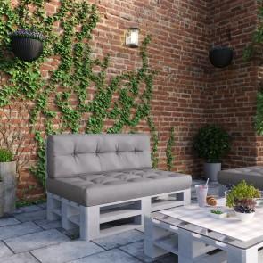 Palettenkissen Set Sitz- und Rückenkissen grau