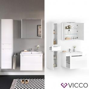 VICCO Badmöbel Set ELBA 70 cm Weiß Hochglanz - Bad Waschtisch Spiegelschrank Badschrank