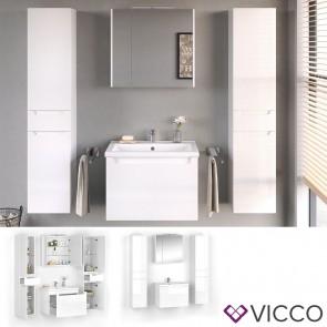 VICCO Badmöbel Set ELBA 70 cm Weiß Hochglanz - Bad Waschtisch Spiegelschrank Badschränke