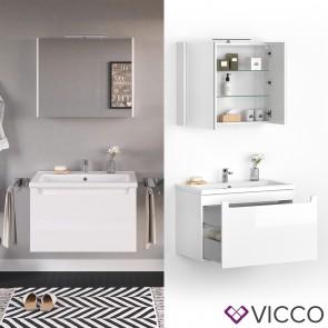 VICCO Badmöbel Set ELBA 80 cm Weiß Hochglanz - Bad Waschtisch Spiegelschrank