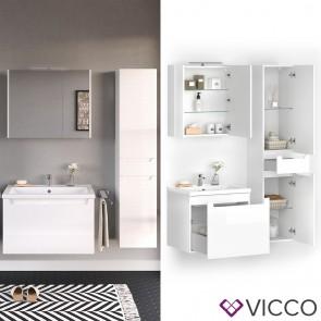 VICCO Badmöbel Set ELBA 80 cm Weiß Hochglanz - Bad Waschtisch Spiegelschrank Badschrank