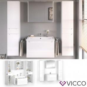 VICCO Badmöbel Set ELBA 80 cm Weiß Hochglanz - Bad Waschtisch Spiegelschrank Badschränke