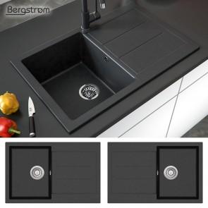 Granit Spüle Küchenspüle Einbauspüle Spülbecken Küche + Siphon schwarz 780 x 500 mm / inkl. (Siphon, Sieb-Abfluss, Überlauf)