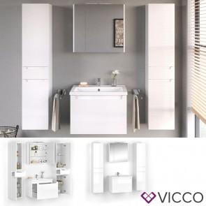 VICCO Badmöbel Set ELBA 60 cm Weiß Hochglanz - Bad Waschtisch Spiegelschrank Badschränke