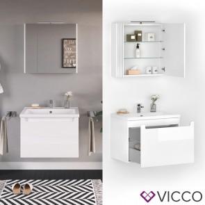 VICCO Badmöbel Set ELBA 70 cm Weiß Hochglanz - Bad Waschtisch Spiegelschrank