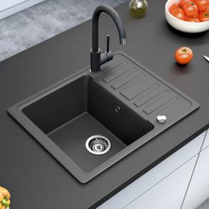 Bergstroem (575x460) Einbauspüle Granit Spüle Verbundwerkstoff (schwarz)