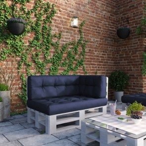 Palettenkissen Set Sitz-, Rücken- und Seitenkissen Blau