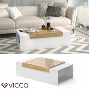 VICCO Couchtisch Aldo Weiß/Eiche