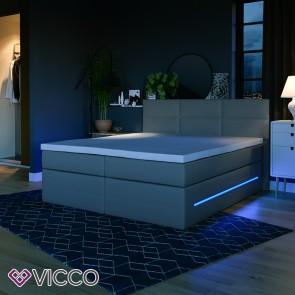 Boxspringbett LED Doppelbett grau 180 x 200