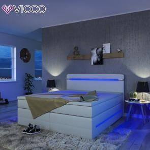 Boxspringbett LED Doppelbett 180 x 200 weiß