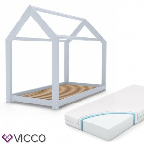 VICCO Kinderbett 90x200 cm Kinderhaus Massivholz Bett Hausbett inkl. 7-Zonen Matratze Grau lackiert