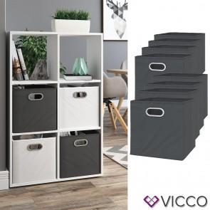 VICCO 8er Set Faltbox 30x30 cm anthrazit