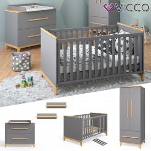 VICCO Babymöbel Set MALIA in anthrazit und Naturholz 5 Teile