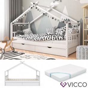 VICCO Kinderbett mit Schubladen, Lattenrost & Matratze