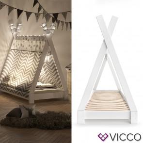 VICCO Kinderbett TIPI Indianer Bett Kinderhaus Zelt Holz Hausbett 70x140cm Weiß