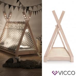 VICCO Kinderbett TIPI Indianer Bett Kinderhaus Zelt Holz Hausbett 80x160cm Natur