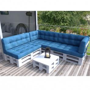 Palettenkissen Set komplettes Ecksofa Blau