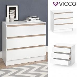 VICCO Kommode Emma - 3 Schubladen in Weiß/Sonoma